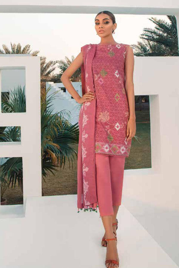 Alkaram Spring Summer Lawn Printed Unstitched Shirt/Dupatta Suit collection ASL21-35.1-PINK