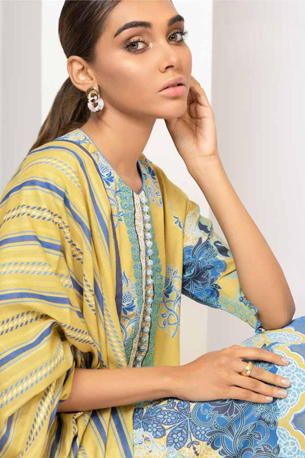 Alkaram Spring Summer Lawn Embroidered Unstitched 3 Piece Suit collection ASL21-06-YELLOW