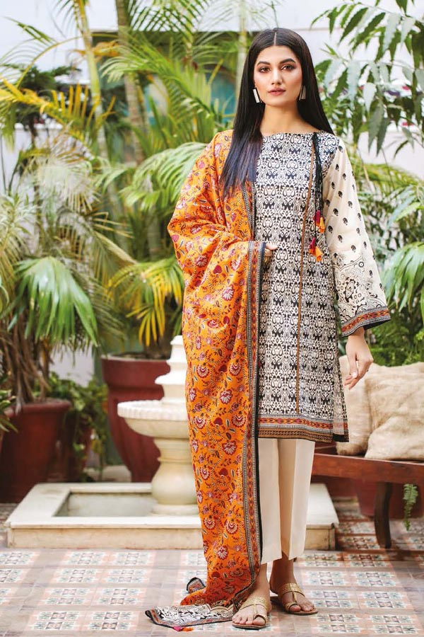 Orient Summer Printed Unstitched Shirt/Dupatta Collection OSL21-023 ORANGE