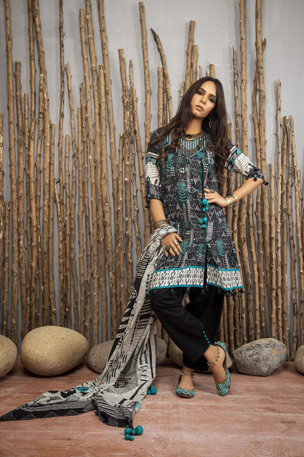 LSM Lakhany Komal Print Lawn Embroidered Unstitched 3 Piece Suit Collection LKC20-2083
