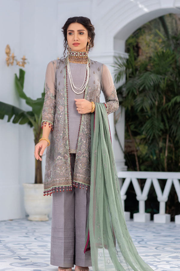 Flossie Kuch Khas Exclusive Chiffon Embroidered Unstitched 3 Piece Suit collection FKC21-10  GARDENIA