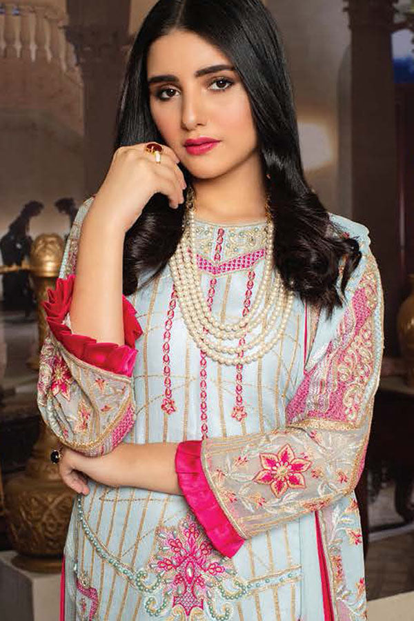 Lalam Luxury Chiffon Embroidered Unstitched 3 Piece Suit Collection LLC21-Sky Charms-5