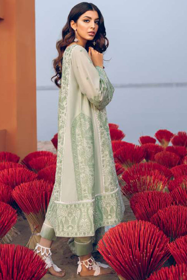 Iznik Luxury Lawn Embroidered Unstitched 3 Piece Suit collection ILL21-12 Crème