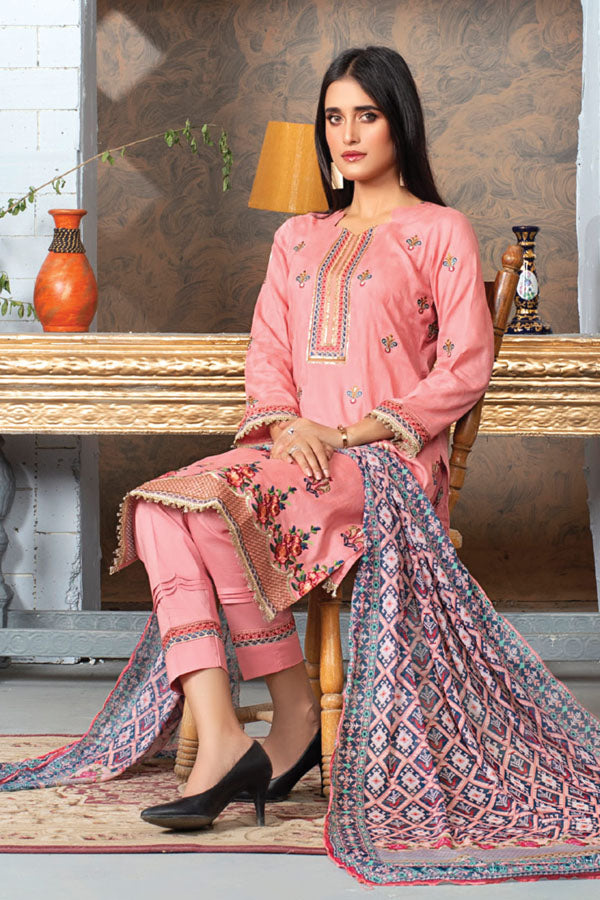 MTF Elegance Meets Extravagance Embroidered Unstitched 3 Piece Suit Collection MEL21-05