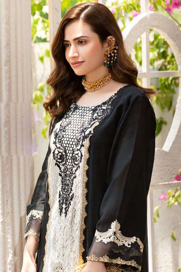 Manara Luxury Lawn Embroidered Unstitched 3 Piece Suit collection MLL21-06