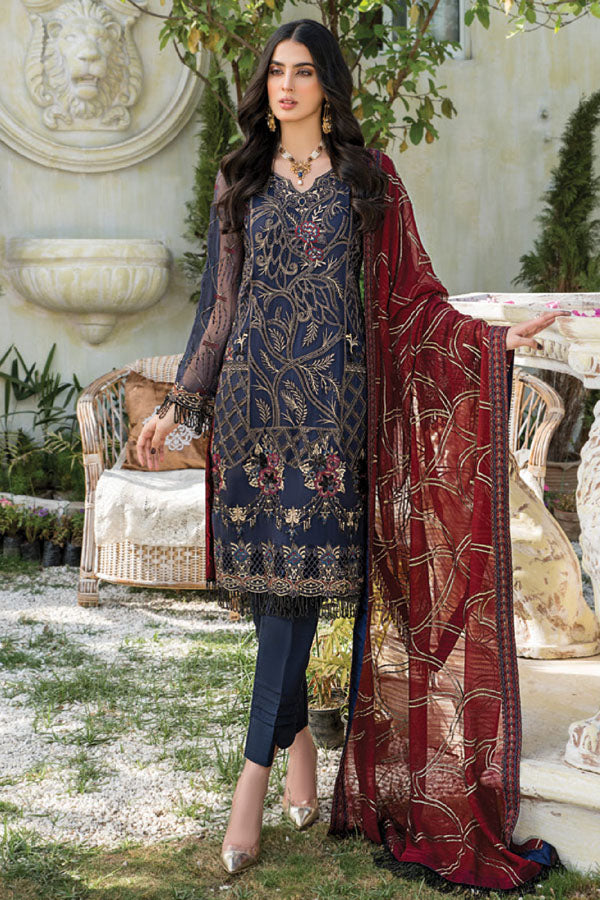 Maryam's Premium Luxury Embroidered Unstitched 3 Piece Suit Collection MPL21-190
