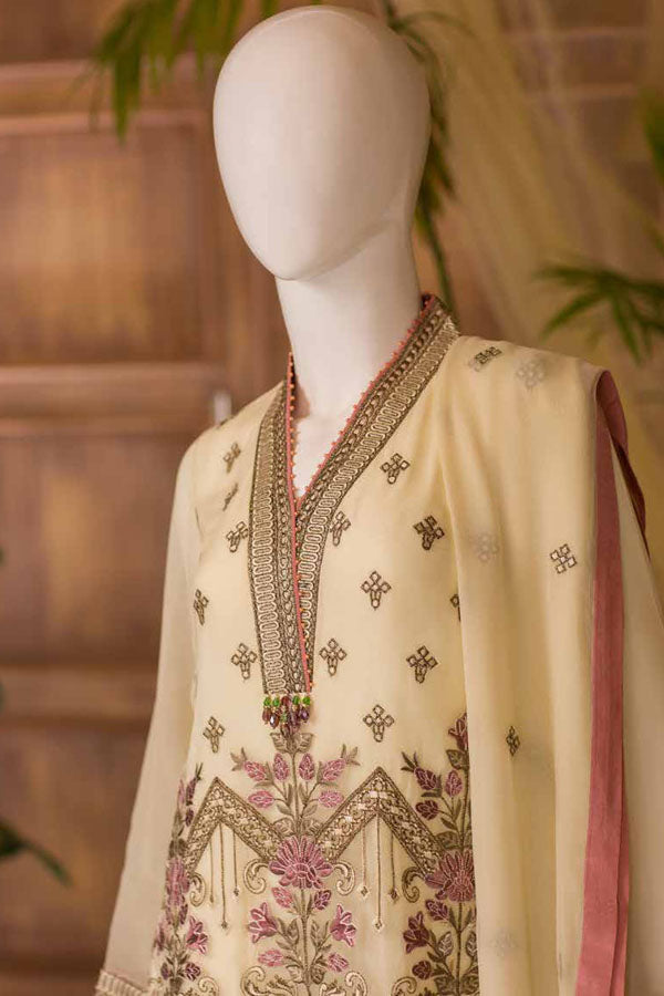 Nafeesa by Flossie Chiffon Embroidered Unstitched 3 Piece Suit collection NCC21-07-CORAL SUNSET