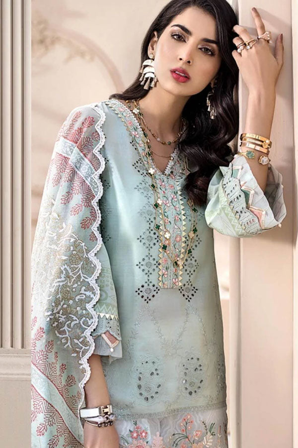 Noor by Saadia Asad Luxury Lawn Embroidered Unstitched 3 Piece Suit Collection NAC20-3B