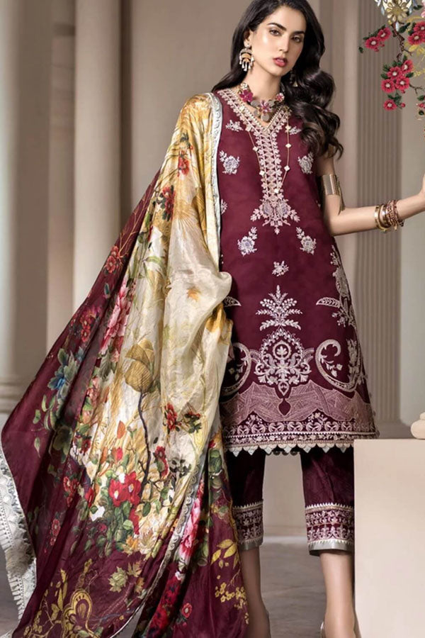Noor by Saadia Asad Luxury Lawn Embroidered Unstitched 3 Piece Suit Collection NAC20-8B