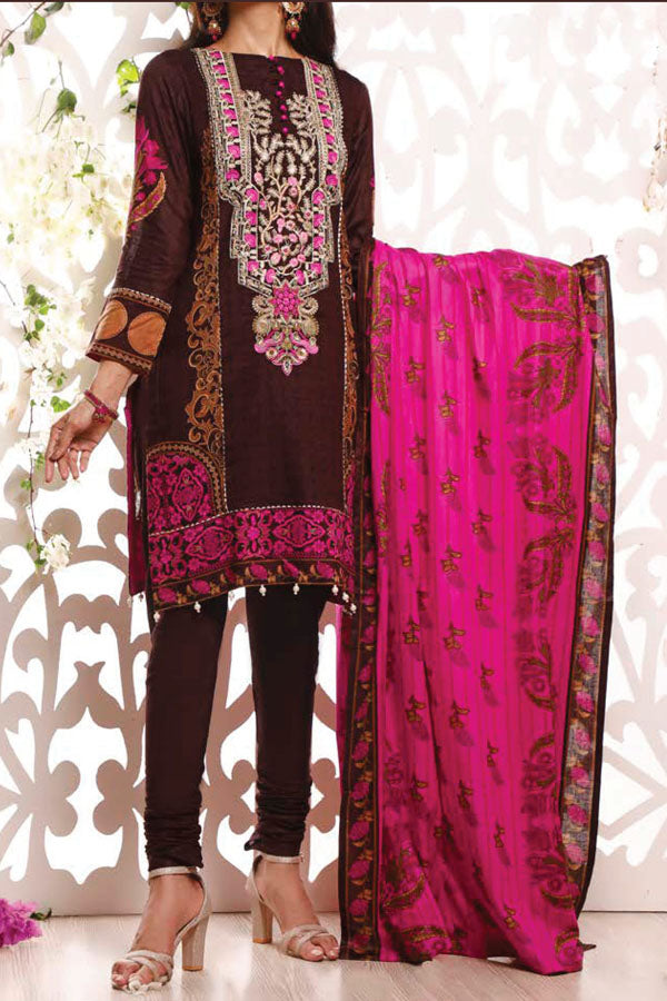 VS Haseen Lawn Embroidered Unstitched 3 Piece Suit collection VHL21-10