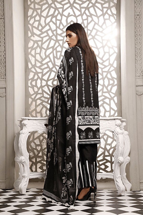 Zavia Black and White Printed Unstitched 3 Piece Suit Collection ZBW20-12