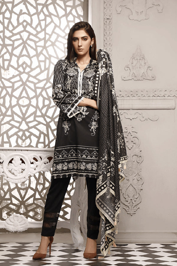 Zavia Black and White Printed Unstitched 3 Piece Suit Collection ZBW20-13