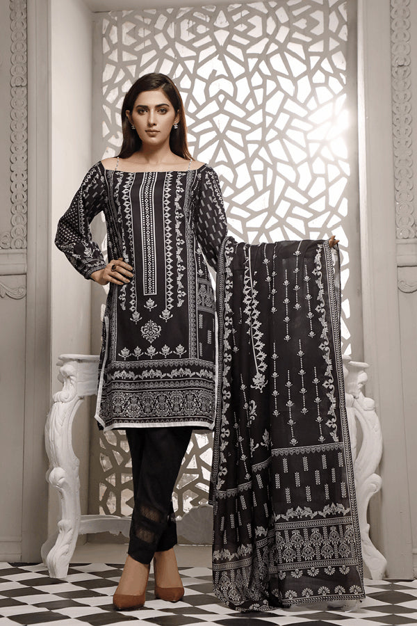 Zavia Black and White Printed Unstitched 3 Piece Suit Collection ZBW20-14