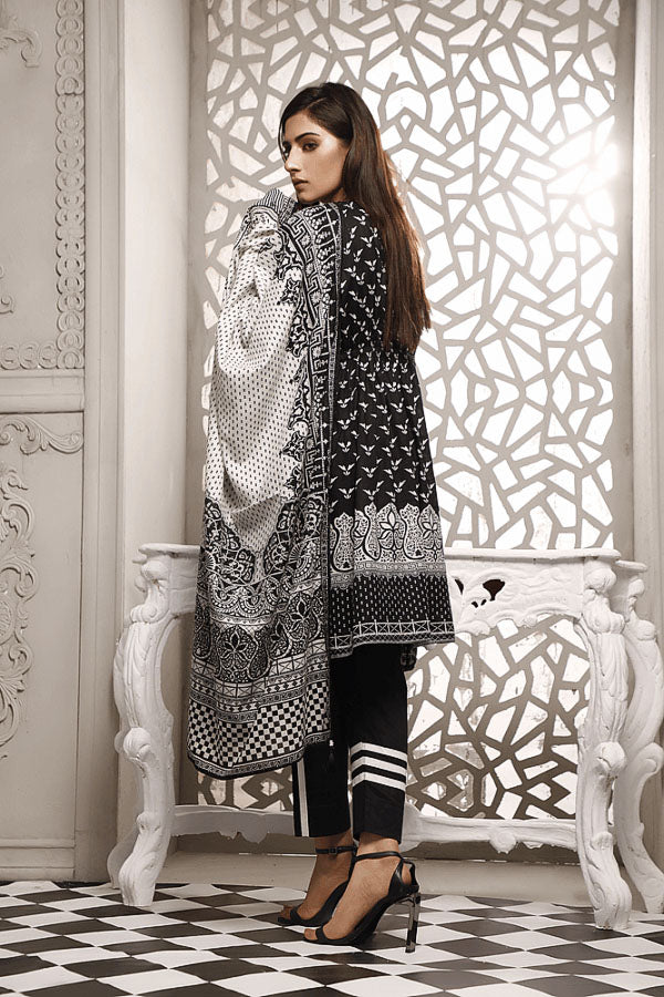 Zavia Black and White Printed Unstitched 3 Piece Suit Collection ZBC20-03