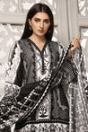Zavia Black and White Printed Unstitched 3 Piece Suit Collection ZBW20-06