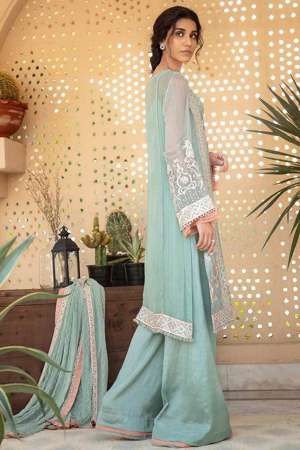 AIK Atelier Aaghaaz Chiffon Embroidered Unstitched 3 Piece Suit Collection AAC19-07