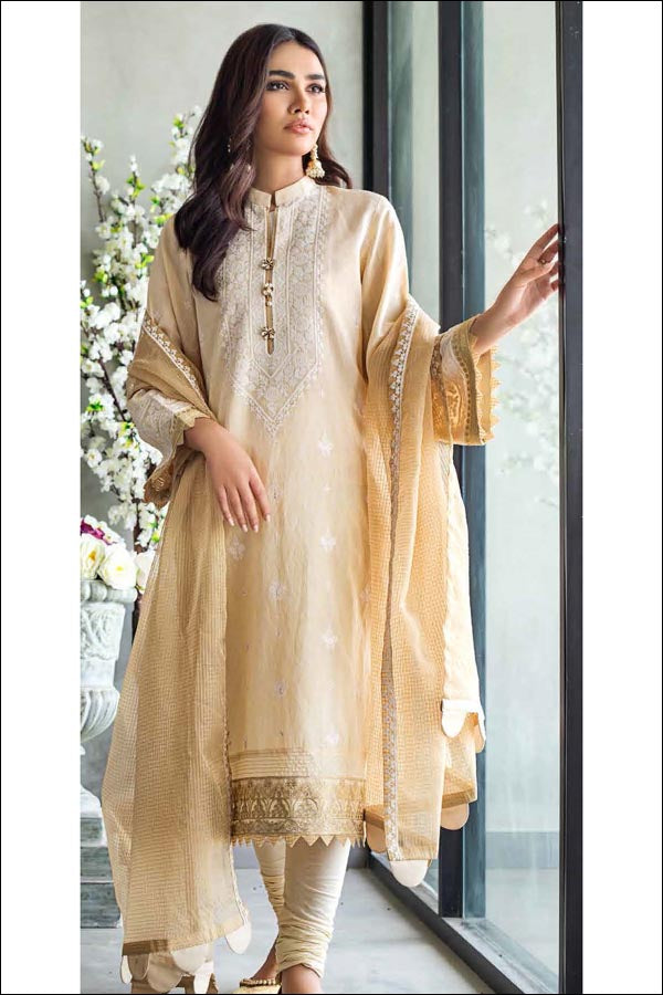 GulAhmed Festive Luxury Eid Edit Embroidered Unstitched 3 Piece Suit collection GA21-FE12215