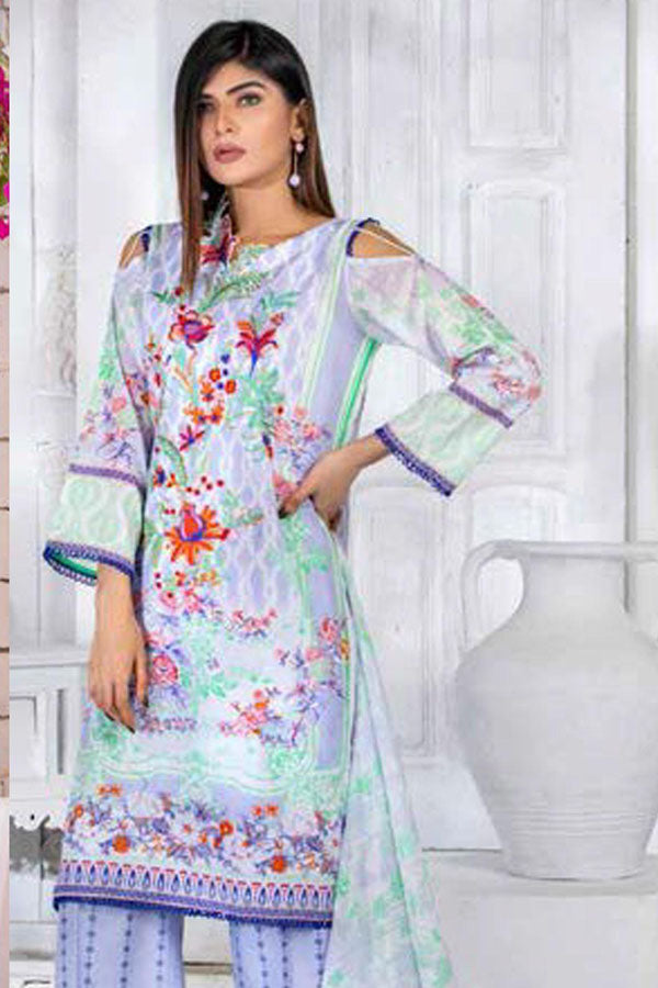 Noor Jahan Premium Lawn Embroidered Unstitched 3 Piece Suit Collection NLC20-10