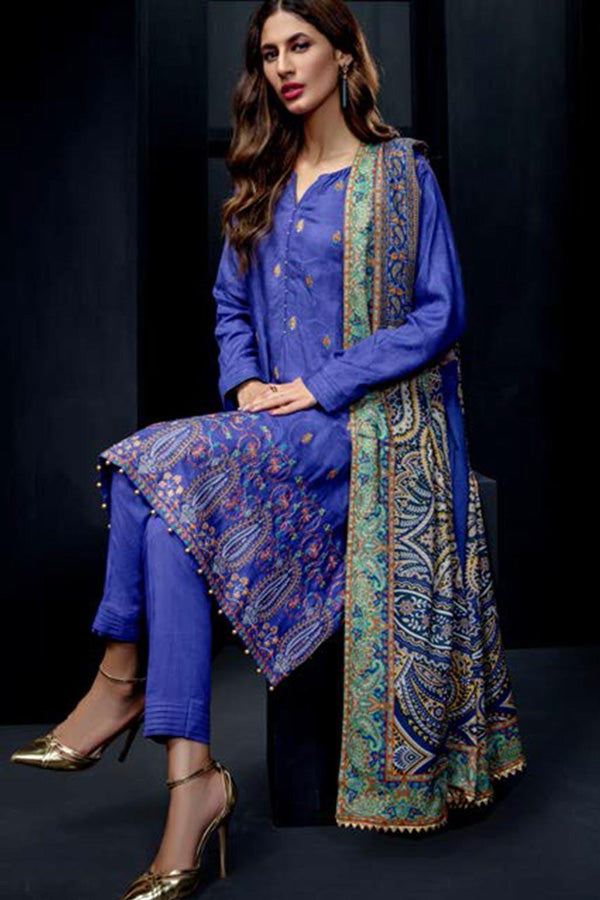Orient Winter Embroidered Unstitched 3 Piece Suit collection OWC19-214-