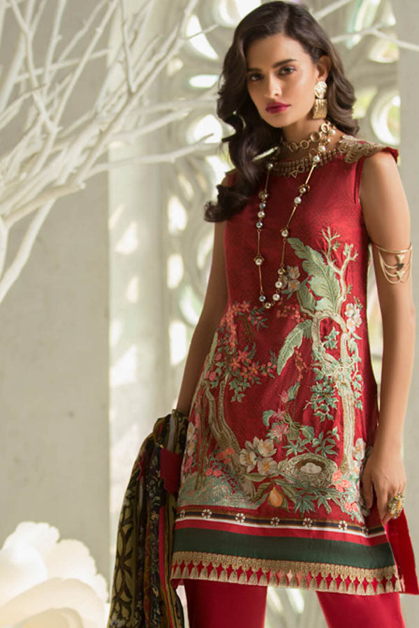 Rouche Lawn Embroidered Unstitched 3 Piece Suit Collection REC19-10