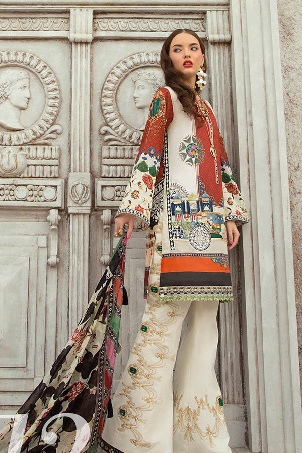 Rouche Lawn Embroidered Unstitched 3 Piece Suit Collection REC19-12