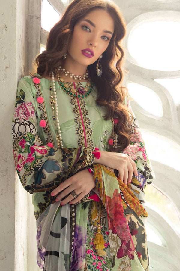 Rouche Lawn Embroidered Unstitched 3 Piece Suit Collection REC19-06