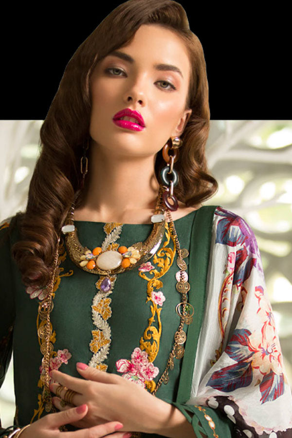 Rouche Lawn Embroidered Unstitched 3 Piece Suit Collection REC19-08