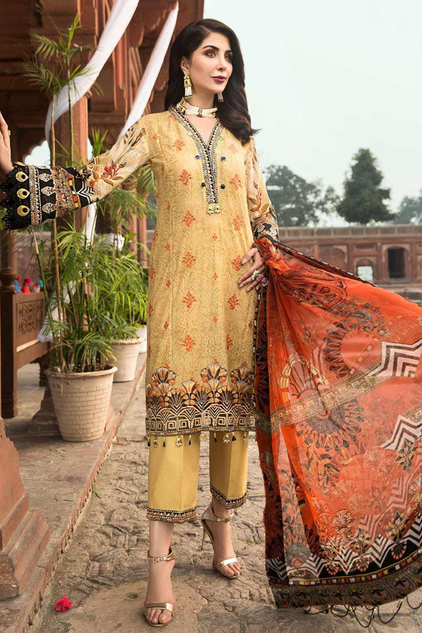 Mohagni Rubab Lawn Embroidered Unstitched 3 Piece Suit Collection MLC20-07