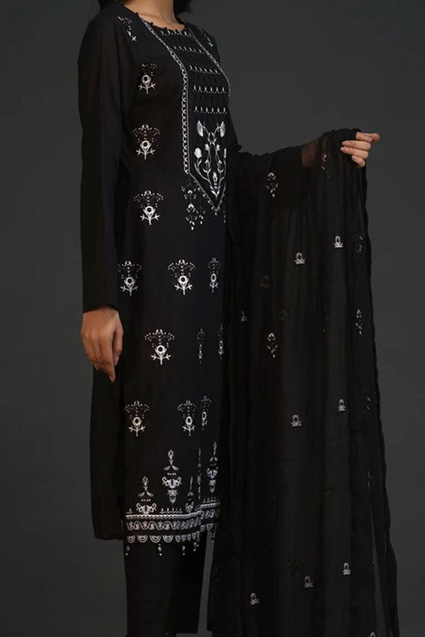 Salitex Black & White Embroidered Unstitched 3 Piece Suit Collection SEC20-20