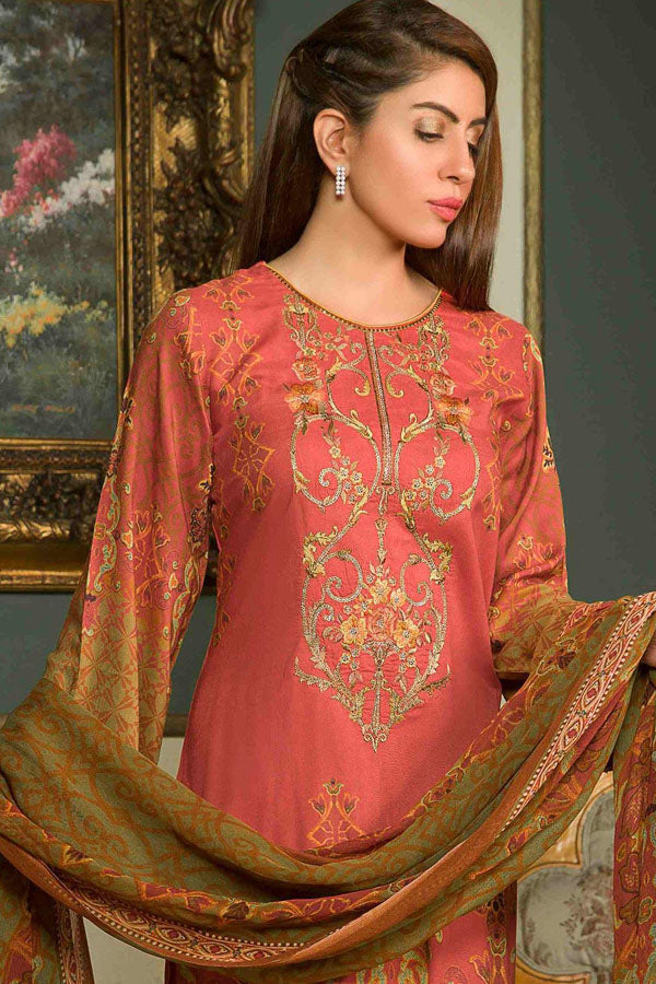 Shamira Digital Printed Linen Vol-02 Embroidered Unstitched 3 Piece Suit Collection SLC19-10