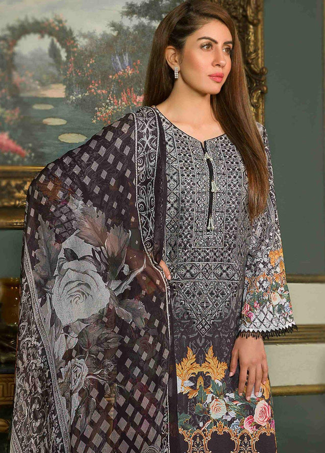 Shamira Digital Printed Linen Vol-02 Embroidered Unstitched 3 Piece Suit Collection SLC19-05