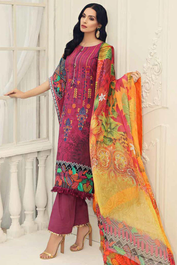 Alzohaib Sunshine Bloom Cotton Silk Embroidered Unstitched 3 Piece Suit Collection AZS19-07
