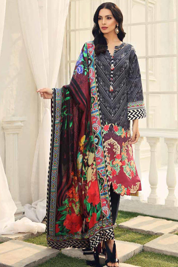 Alzohaib Sunshine Bloom Cotton Silk Embroidered Unstitched 3 Piece Suit Collection AZS19-08