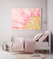 Pink flower and sparkles, Wall Art Print Girl, Children Room Print
