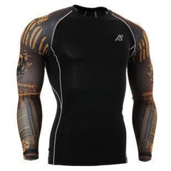 Mens Long Sleeves Compression Shirts Tight Skin Sides 3D Prints