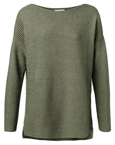 YAYA Cotton sweater, olive