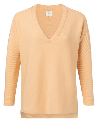 YAYA Cotton ribbed sweater, pale yellow