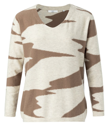 YAYA Wool blend jacquard sweater, chocolat dessin