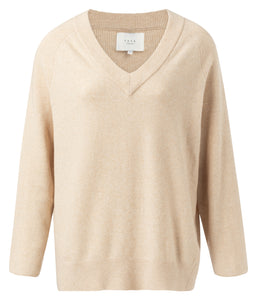 YAYA V-neck Sweater with seams, beige melange