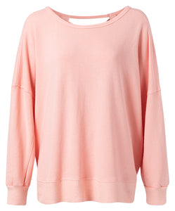 YAYA Oversized Sweater with open Back, Peach