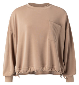 YAYA Modal blend sweatshirt with pocket and drawstring, taupe