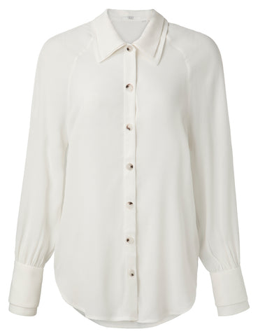 YAYA Blouse with double collars, white