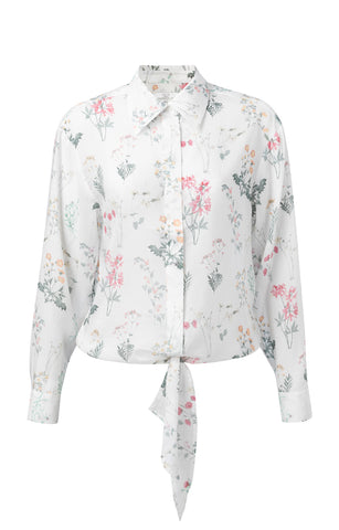 YAYA Knotted Blouse with floral print, white