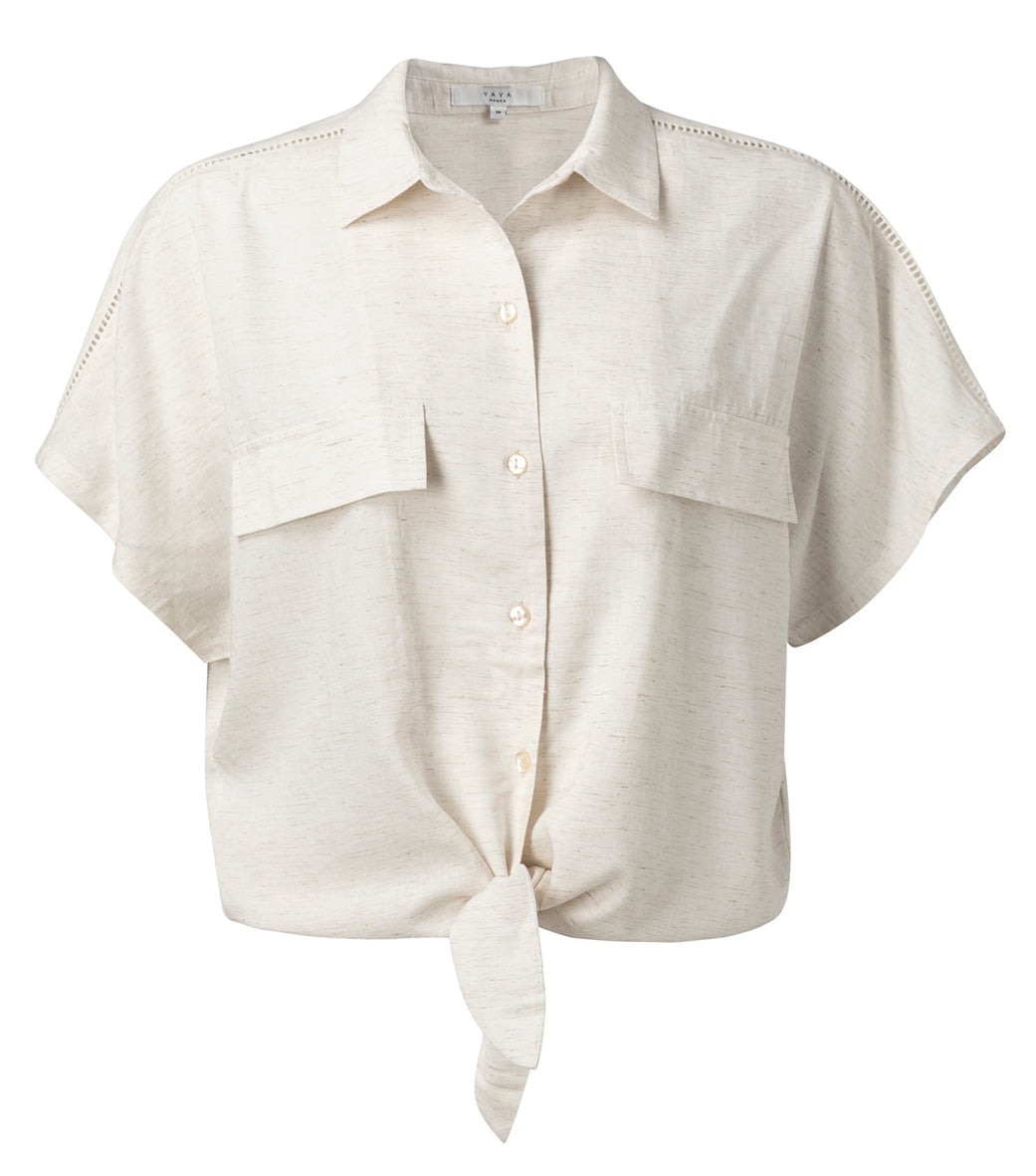 YAYA Knotted shirt with short sleeves, white sand