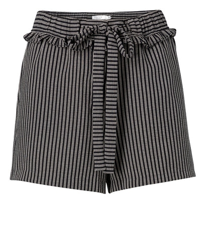 YAYA Jacquard Shorts with ruffles, black