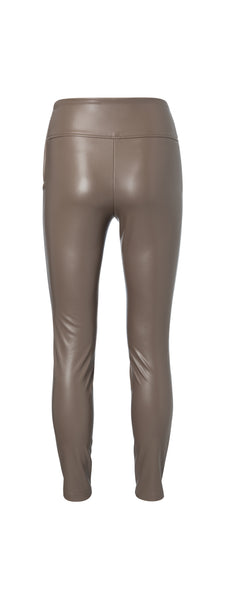 YAYA Stretch faux leather legging, chocolate