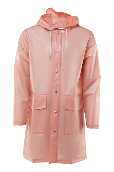 RAINS Transparent Hooded Coat, rose