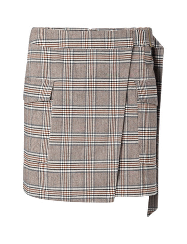 YAYA Faux wrapped mini skirt with checks, cacao brown dessin