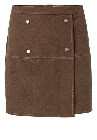 YAYA Wrapped skirt with buttons, brown