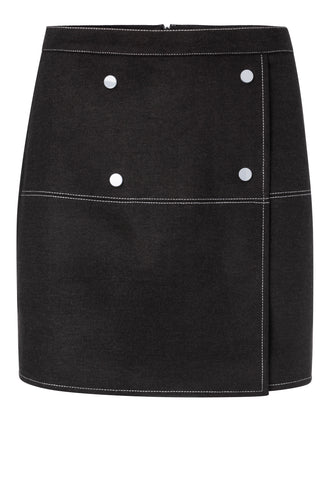 YAYA Wrapped skirt with buttons, black
